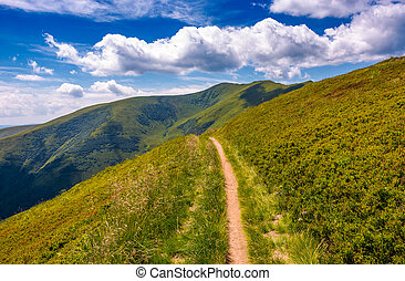 footpath through grassy mountain ridge