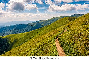 footpath through the mountain ridge - summer mountain...