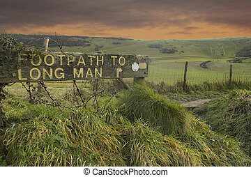 Footpath to Long Man of Wilmington - Sign showing way to the...