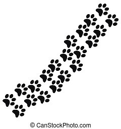 Footpath trail of animal. Dog or cat paws print. Trail footpath wildlife, footprint silhouette illustration