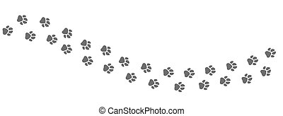 Footpath trail of animal. Dog or cat paws print vector isolated on white background