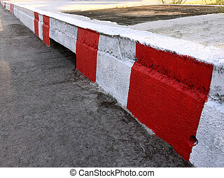 Footpath with Red and White Stripes
