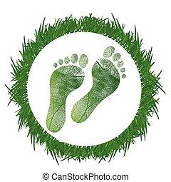 footprint around grass illustration design over a white background