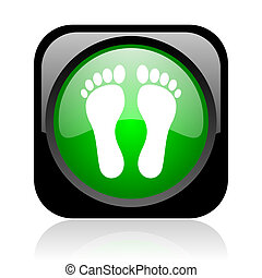footprint black and green square web glossy icon