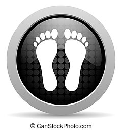footprint black circle web glossy icon