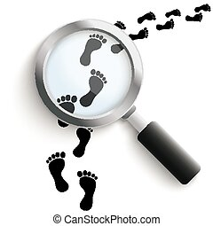 Black footprints with loupe on the white background.