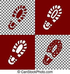 Footprint boot sign. Vector. Bordo and white icons and line icons on chess board with transparent background.