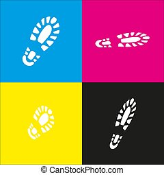 Footprint boot sign. Vector. White icon with isometric projections on cyan, magenta, yellow and black backgrounds.
