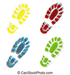 Footprint boot sign. Vector. Yellow, red, blue, green icons with