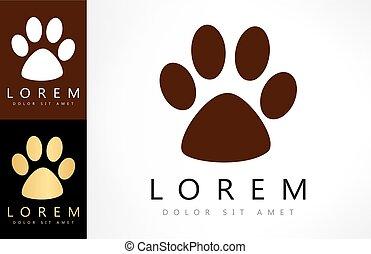 footprint cat logo vector