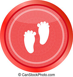 footprint circle glossy web icon on white background