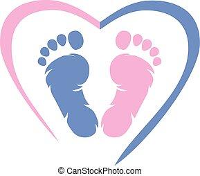 footprint., diseño, icono