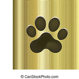Footprint dog - Footprint paw dog vector logo golden...