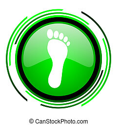 footprint green circle glossy icon