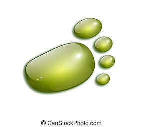 Green footprint over white background. Ecological concept. Illustration