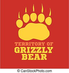 footprint grizzly bear - vector illustration - footprint...
