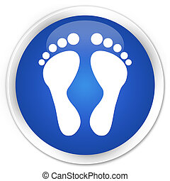 Footprint icon blue glossy round button