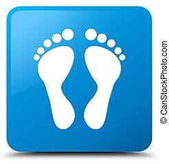 Footprint icon cyan blue square button