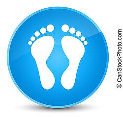 Footprint icon elegant cyan blue round button