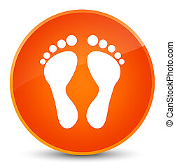 Footprint icon elegant orange round button