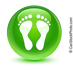 Footprint icon glassy green round button