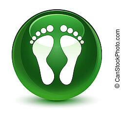 Footprint icon glassy soft green round button