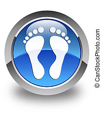 Footprint icon glossy blue round button