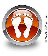 Footprint icon glossy brown round button