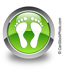 Footprint icon glossy green round button