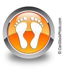 Footprint icon glossy orange round button