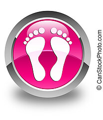 Footprint icon glossy pink round button
