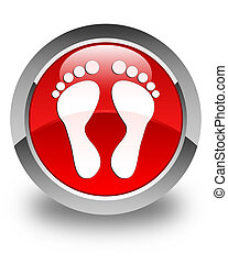 Footprint icon glossy red round button