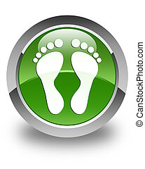 Footprint icon glossy soft green round button