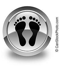Footprint icon glossy white round button