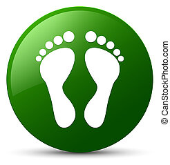 Footprint icon green round button