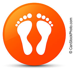 Footprint icon orange round button