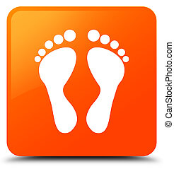 Footprint icon orange square button