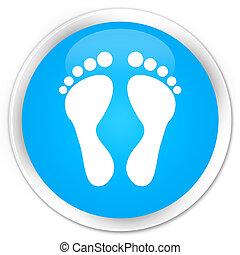 Footprint icon premium cyan blue round button