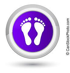 Footprint icon prime purple round button