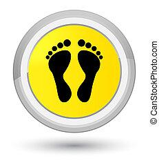 Footprint icon prime yellow round button