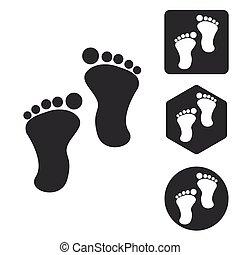 Footprint icon set, monochrome