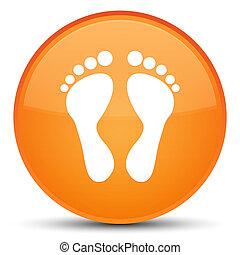 Footprint icon special orange round button