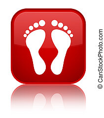 Footprint icon special red square button