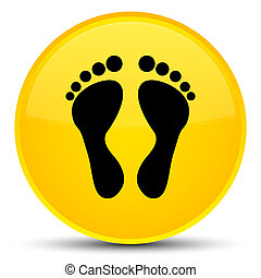 Footprint icon special yellow round button