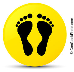Footprint icon yellow round button