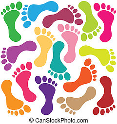 Illustration of a footprint as colorful background.