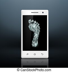 footprint in the form of chips on the screen of your smartphone