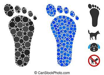 Footprint Mosaic Icon of Circles