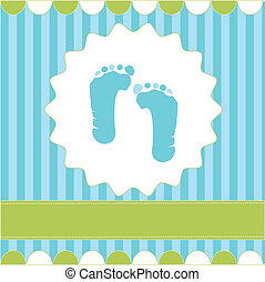 footprint of boy on the blue background