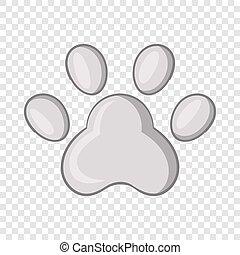 Footprint of cats foot icon, cartoon style